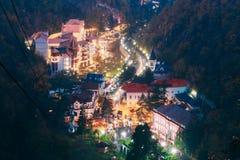 Borjomi Samtskhe-Javakheti, Georgia Borjomi för flyg- sikt Cityscape arkivbild