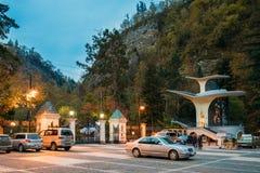 Borjomi, Samtskhe-Javakheti, Georgia Strada sospesa della teleferica fotografia stock