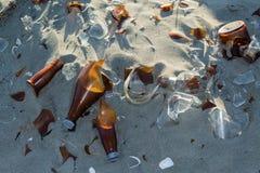 Borken Glass Bottles stock images
