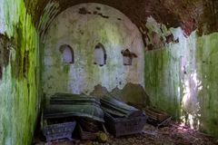 The tomb of the von Tesmar family. Borkowo Leborskie, Poland- 08 June 2014: The tomb of the von Tesmar family. Devastated cemetery chapel in the north of Poland royalty free stock photos