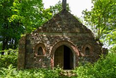 The tomb of the von Tesmar family. Borkowo Leborskie, Poland- 08 June 2014: The tomb of the von Tesmar family. Devastated cemetery chapel in the north of Poland stock photos