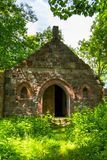 The tomb of the von Tesmar family. Borkowo Leborskie, Poland- 08 June 2014: The tomb of the von Tesmar family. Devastated cemetery chapel in the north of Poland stock photography