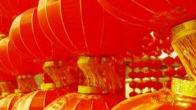 Borla roja de las linternas que se sacude en el viento, elementos del este, Año Nuevo de China