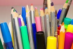 Borlas dos lápis dos marcadores Fotos de Stock Royalty Free