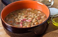 Borlotti bean and spelt soup. Stock Images