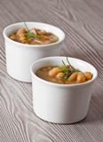 Borlotti bean and spelt soup. Royalty Free Stock Photos