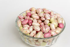 Borlotti beans. Closeup in transparent container, a typical product of italian agriculture Stock Photo