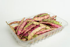 Borlotti beans. With peel in transparent container, Italian product Royalty Free Stock Photo