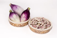 Borlotti beansand onions. Close up of beans in bowls with onions Stock Photos