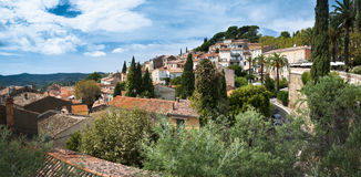 Bormes les Mimosas - Town Panoramic view with Mimosas trees Royalty Free Stock Photography