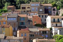 Bormes-les-mimosas village in France stock photos