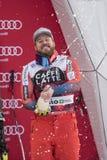 Bormio freeride skiing world cup 12/28/2017. Bormio  Italy 12/28/2017: pictures of the freeride ski world championship. The winner was the Italian Dominic Paris Stock Image