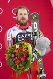 Bormio freeride skiing world cup 12/28/2017. Bormio  Italy 12/28/2017: pictures of the freeride ski world championship. The winner was the Italian Dominic Paris Royalty Free Stock Image