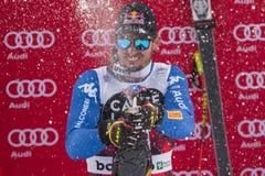Bormio freeride skiing world cup 12/28/2017. Bormio  Italy 12/28/2017: pictures of the freeride ski world championship. The winner was the Italian Dominic Paris Stock Images