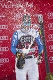 Bormio freeride skiing world cup 12/28/2017. Bormio  Italy 12/28/2017: pictures of the freeride ski world championship. The winner was the Italian Dominic Paris Royalty Free Stock Photo