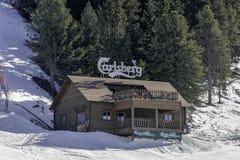 Bormio, Itália - 31 de janeiro de 2005: Inclinação da estância de esqui resturant dentro Imagem de Stock