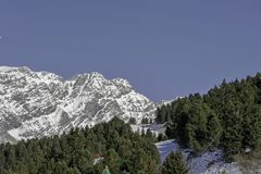 Bormio, Italia - 31 de enero de 2005: Cuesta del esquí en Bormio entre el tr Imágenes de archivo libres de regalías
