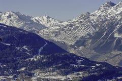 Bormio, Italy - January 31, 2005: Panoramic view of mountians in royalty free stock photo