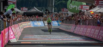 Bormio, Italy May 23, 2017: Davide Formolo, Cannondale Drapac Team, exhausted passes the finish line. After the hardest montain stage of Tour of Italy 2017 that Stock Photos