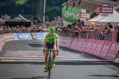Bormio, Italy May 23, 2017: Davide Formolo, Cannondale Drapac Team, exhausted passes the finish line. After the hardest montain stage of Tour of Italy 2017 that Royalty Free Stock Photography