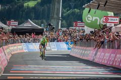 Bormio, Italy May 23, 2017: Davide Formolo, Cannondale Drapac Team, exhausted passes the finish line. After the hardest montain stage of Tour of Italy 2017 that Stock Photo