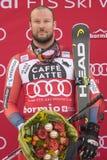 Bormio freeride skiing world cup 12/28/2017. Bormio  Italy 12/28/2017: pictures of the freeride ski world championship. The winner was the Italian Dominic Paris Royalty Free Stock Photography