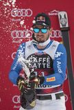 Bormio freeride skiing world cup 12/28/2017. Bormio  Italy 12/28/2017: pictures of the freeride ski world championship. The winner was the Italian Dominic Paris Stock Photo