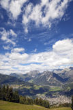 Bormio and Valtellina summer panorama. Color image. View of Bormio and the Valtellina, from the peak of Bormio 2000 Lombardy, Northern Italy near the Switzerland Royalty Free Stock Images