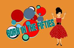 Born in the fifties. Conceptual design for fifties era Stock Photography