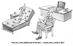 Born. Mental health cartoon about a rabbit born early in life royalty free illustration