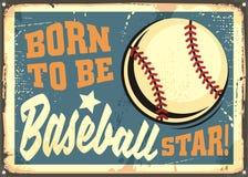Born to be baseball star motivational message royalty free illustration