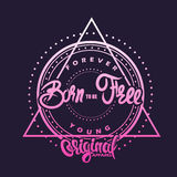 Born to be free. T-shirt graphics, poster, banner, print, flyer Stock Photo