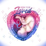 Watercolor embryo inside the heart shaped womb with sparkles. Born to be loved. Watercolor embryo inside the heart shaped womb decorated with fantasy sparkles Royalty Free Stock Images