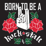 Born to be a Rock Star - Rock festival poster with Rock hand 3d. Sign and roses. T-shirt apparels print for girls Royalty Free Stock Images