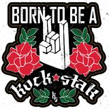 Born to be a RockStar - Rock festival poster with Rock hand 3d s. Ign and roses. Patch for women`s t-shirt or other clothing Royalty Free Stock Photography