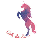 Born to be a unicorn. Vector illustration. Abstract unicorn silhouette isolated with text inside on grunge background. With an Ooh. La la inscription. Pink stock illustration