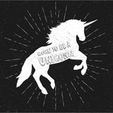Born to be a unicorn. Vector illustration, eps10. Abstract unicorn silhouette isolated with text. Born to be a unicorn. Vector illustration, eps10. Abstract stock illustration