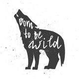 Born to be wild letterin in wolf. Lettering composition. Phrase Born to be wild inscribed into wolf silhouette. Ink splashes on white background Royalty Free Stock Images