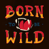 Born to be wild lettering illustration with beast s jaws royalty free illustration