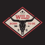 Born to be wild tee print with longhorn skull. Royalty Free Stock Photography