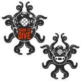 Born to dive. Old style diver helmet with octopus tentacles. Des. Ign element for logo, emblem, poster, t-shirt print. Vector illustration Stock Images