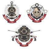 Born to dive. Set of diving club labels templates. Vintage diver. Helmets. Design elements for logo, label, emblem, sign vector illustration