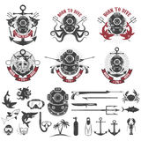 Born to dive. Set of vintage diver helmets, diver label template Stock Photography
