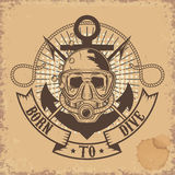 Born to Dive. Skull in dive mask on grunge background. Stock Photography