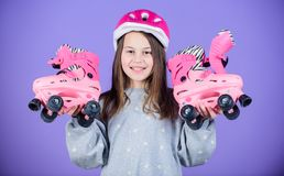 Born to have fun. Roller skating. Childhood activity. race workout of teen girl. Freestyle. Sport success. Little girl. Fitness health and energy. Happy child stock photos