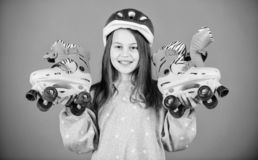 Born to have fun. Roller skating. Childhood activity. race workout of teen girl. Freestyle. Sport success. Little girl. Fitness health and energy. Happy child stock photography