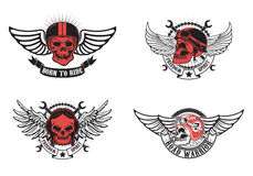 Born to ride, freedom spirit. Set of winged skulls in motorcycle Stock Images