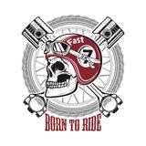 Born to ride. Skull in motorcycle helmet on background with whee Royalty Free Stock Image