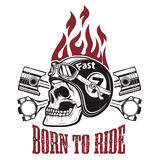 Born to ride. Skull in motorcycle helmet with crossed pistons. D Stock Images