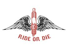 Born to ride. Spark plug with wings isolated on white background. Design element for logo, label, emblem, sign. Vector illustration Royalty Free Stock Image